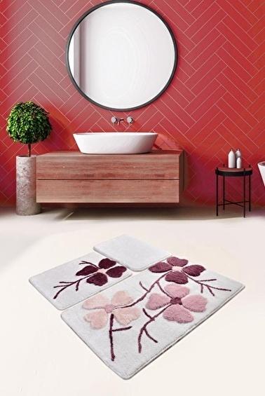 Chilai Home Kırçiçeği 3'lü Set Klozet Takım Akrilik Banyo Paspası Pembe
